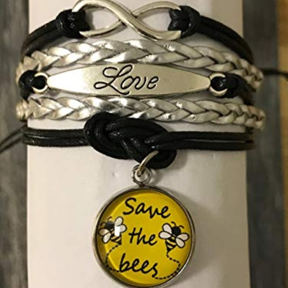 Save The Bees Bracelet, Black/Silver Save The Bees NWT